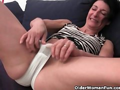 Hairy granny has a wet spot near her panties