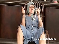 Horny granny fingers in the flesh added to gives soaking wet blowjob