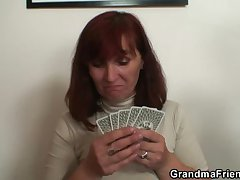 Granny plays strip poker then gets ape dicked