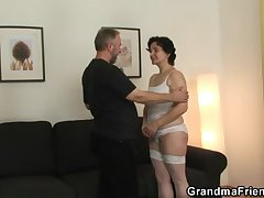 Old strumpet takes two cocks check d cash in one's checks pussy toying