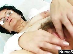 Old woman head nurse kinky muted pussy spreading