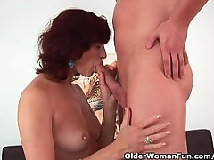 Granny gets a well-disposed roger with the addition of well provided for facial