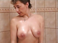 Horny milf beside shower sex