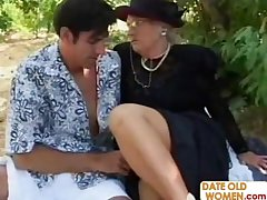 Walk-over with British granny and young guy