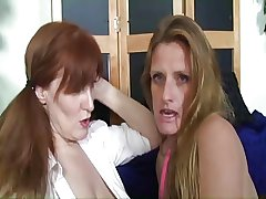 Saggy Tit Mature TJ With an increment of Redhead Granny StrapOn Session