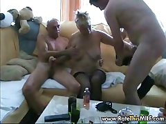Amateur granny up two guys