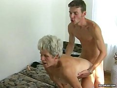 Muted granny pussy filled with younger dick