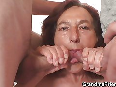 Poisonous granny takes two young dicks