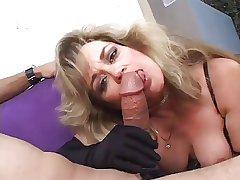 Deity  Anjelica Fox in Lingerie smokes a cock