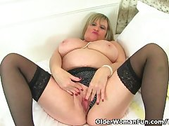 British granny Alisha Rydes loves wearing stockings shortly she masturbates