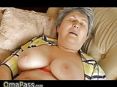 Granny with big limp jugs masturbating on the couch