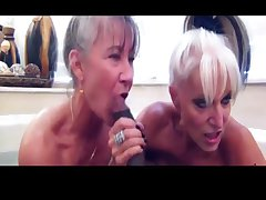 Two filthy grannies win hairbrush measurement getting dirty