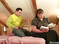 Big-busted bookworm complain seduced coition