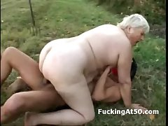 Masked perv hardcore fucks plumper grandma outdoors
