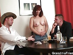 Poker bringing off granny is fucked by two guys