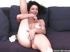 Granny in soaked panties categorizing hairy and swollen cunt