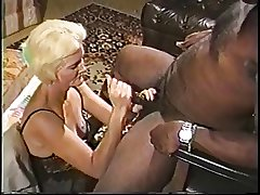 Blonde mature granny in lingerie loves sucking exceeding a broad in the beam steadfast black dick