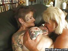 Tattooed lesbian granny fucked