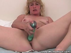 Grandma With Hard Nipples Finger Fucks Her Grey Pussy