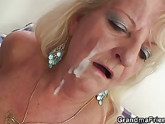 Two partying guys fuck boozed blonde granny