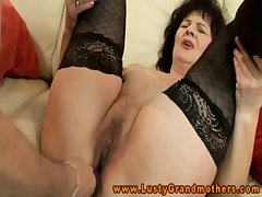 Non-professional GILF in stockings hairy clit rubbed in toys plus fingered