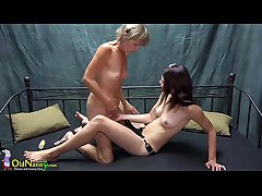 OldNanny Pretty teen girl is carrying-on back venerable grandma back sextoy strapon