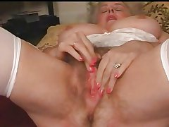 Grown-up Granny Busty Plays With Will not hear of Hairy Pussy