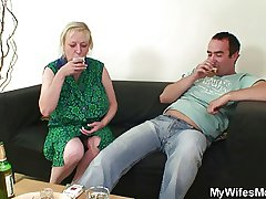 Cheating coitus with busty mother-in-law gets discovered!