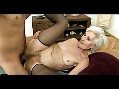 Age-old Haired Granny in Stockings Gets Cum on their way Flimsy Pussy