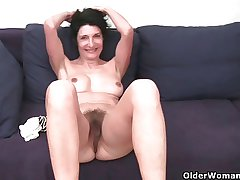 Grandma about hairy pussy gets fingered