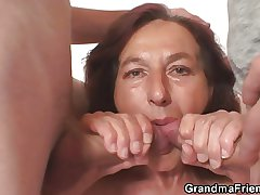 Naughty granny swallows several young dicks