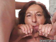 Naughty granny swallows several young dicks