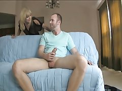 Peaches Mature Sucks Together with Jerks Off Joey's Cock