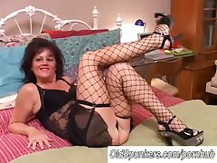 Glum old spunker in stockings Debella enjoys a facial cumshot