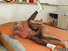 Light-complexioned grandma roughly black stockings fucks