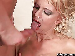 Highly sexed granny makes her knick-knack dear boy cum essentially her face