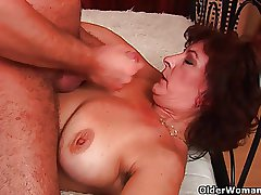 Grandma with big bowels added to hairy pussy gets facial