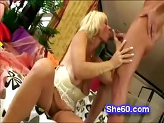 Blonde grandma brings out their way toys nearly have some fun toute seule time