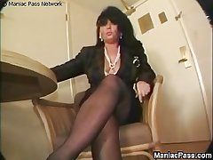 Mature brunette fucks to shinny up