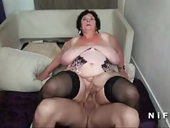 BBW French granny hard double penetrated in foursome - cutecam.org