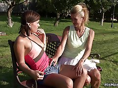 Elderly grown up lesbian toying young pussy