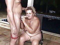 Pool boy butt fucks a fat granny