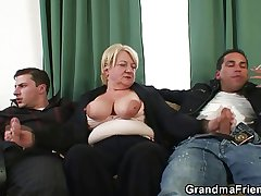 Triple orgy with granny