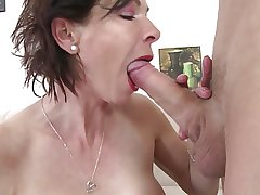 Skinny granny swell up and have sex young boy's load of shit