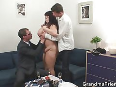 Two guys fucking older BBW son