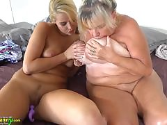OLDNANNY Teen girl and her big knockers and wet pussy