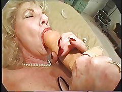 Hairy Granny Loves Dildo with the addition of Bbc