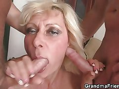 Two guys prick her old opening