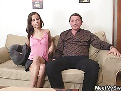 Mischievous distressing GF and his parents attempt coitus