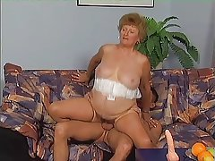 Granny in Stockings Frenetic Cock
